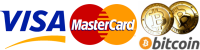 We accept Bitcoins, Visa and Mastercard